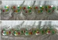5 VTG KIG Thumb Rainbow Sherbet Dessert Cup Set Red Green Yellow Glass Indonesia
