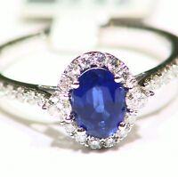 1.4CT 14K Gold Natural Sapphire Round Cut White Diamond Engagement Ring Vintage