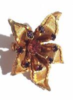 Brooch Vintage Flower Shaped Pin Rhinestone Flower Shape Rhinestones Jewelry
