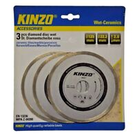 3 x Kinzo 125mm Wet Ceramics Tile Marble Diamond Disc Blades Angle Grinder Tools
