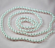 *140pcs 6mm Pure White Color Faux Imitation Plastic Round Pearl Beads*