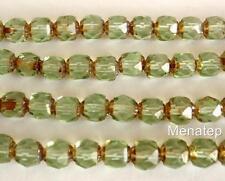25 6mm Czech Glass Firepolish Renaissance Style Beads: Peridot - Picasso