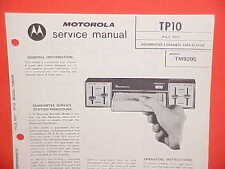 1971 MOTOROLA 4 CHANNEL 8-TRACK CAR STEREO TAPE PLAYER SERVICE MANUAL TM920S