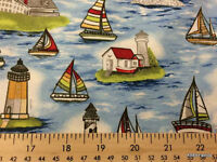 Lighthouse Nautical Sailboat Lighthouse Ocean Cotton Fabric BTY Half Yard w3/21