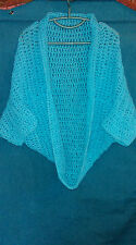 Hand Crochet Ladies Cosy Shrug in Light Blue, One Size