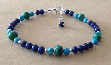 Lapis Lazuli+Turquoise+Malachite, Sterling Silver, Beaded Friendship Bracelet