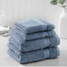 2 PACK Charisma Soft 100% Hygro Cotton 4-piece Hand & Washcloth Towel Set Blue