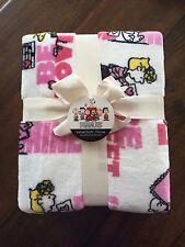 "Peanuts VALENTINE Velvet Soft Blanket Throw By Berkshire 55""x70"" Pink Red NWT"