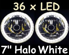 "1pr WHITE 7"" H4 AUTOPAL 36 x LED Halo Headlights H4 Datsun 140Z 240Z 260Z 1600"