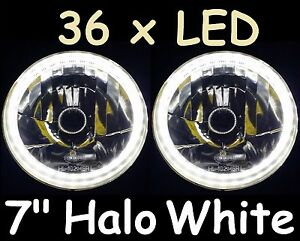 "1pr WHITE 7"" LED Headlights Hi/Lo H4 fit Land Rover Defender 90 110 130 County"