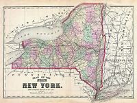 1873 BEERS MAP NEW YORK STATE VINTAGE REPRO POSTER ART PRINT 2959PYLV