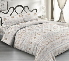 COMPLETO LENZUOLA letto francese CUORE LOVE beige 140x200 shabby