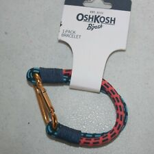 New OshKosh Boys Bracelet Jewelry Accessory Cord in Red & Blue Carabiner