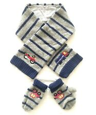 NEXT toddler boys wool cotton lining scarf mittens set blue grey vehicle sz. 3-5
