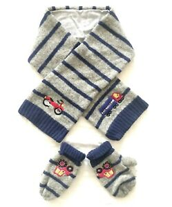 NEXT toddler boys wool cotton lining scarf mittens set blue grey vehicle sz. 3-5