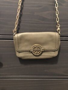 Tory Burch Mini Chain Classic Crossbody Thunderstorm Beige Leather Clutch