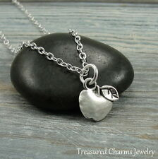 Silver Apple Charm Necklace - Fruit School Teacher Pendant Jewelry NEW