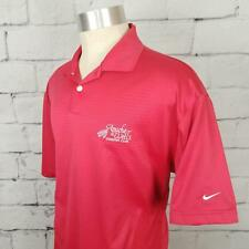 Nike Golf Fit Dry Embroidered Apache Wells Golf Polo Shirt Rose Red Vented sz L