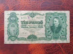 Old rare banknote from Hungary 10 pengo 1929