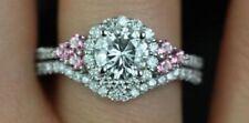 Certified 2.60Ct White & Pink Round Diamond Engagement Wedding Ring Set 14k Gold