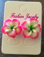 NEW Beautiful Hawaiian Plumeria Pink Flower Fimo Polymer Clay Pierced Earrings