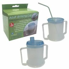 Adult Drinking Cup STRONG HANDLES Wide Base. 2x Anti Splash Lids Aid Disability