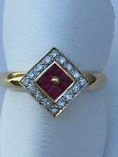 14 kt Yellow Gold Ring With Rubies and Diamonds