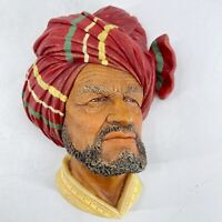 Vintage Bossons Chalkware Head Abdhul 1960 Congleton England Bearded Sheik