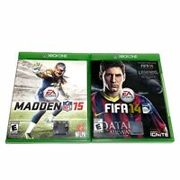 Microsoft Xbox One Madden 15 & FIFA 14 Sports Football Soccer Video Game Lot