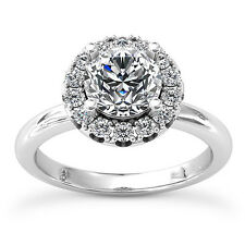 1 Ct Round Cut Diamond Solitaire Engagement Ring 14K White Gold Enhanced VS/D