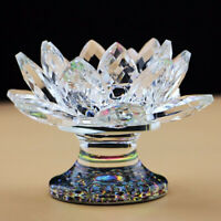 "Optical Crystal Prism Clear Rainbow 4.5"" Lotus Figurine T-Light Candle Holder"