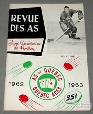 1962-63 AHL Quebec Aces Program Ron Attwell Cover