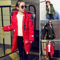 Girls Kids Toddler Long Sleeve Hooded Jackets Warm Winter Fur-lined Outwear Coat