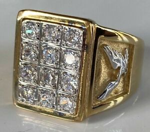 LRG HEAVY MENS GENTS AMERICAN EAGLE 9CT GOLD PLATED STERLING SILVER SIGNET RING