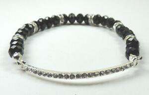 Black Crystal Stretch Bracelet Rhinestone Bar & Rhondelles Handcrafted