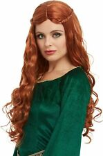 Ladies Medieval Princess Wig Auburn Tudor Renaissance Long Fancy Dress Accessory