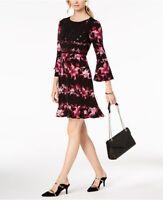 Alfani Womens Black Print Tiered-Sleeve Fit & Flare Dress Multiple Sz 99 {&}