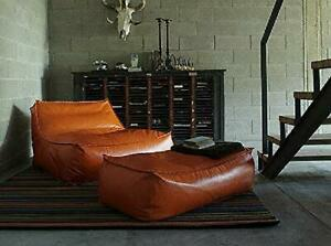 Bean bag Cover Leather sofa chair without Bean With Ottoman for luxuries gift