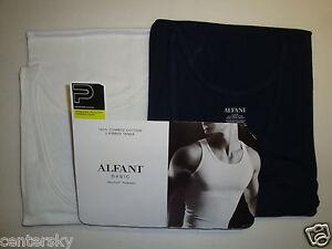NEW ALFANI BASIC MEN'S 2 COTTON RIBBED TANKS TANK TOP BLUE & WHITE SMALL 34-36