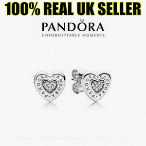 NEW Genuine Pandora Logo Heart Stud Earrings S925 With White Soft Pouch UK SALE!