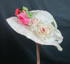 *Vintage Ladies Straw Easter Hat / Bonnet Silk Flowers - Hudsons Salon - Quality