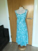Ladies PER UNA Dress Size 14 Long Tall Aqua Cotton Floral Party Wedding