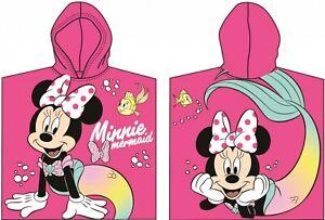 Disney Minnie Mouse Mermaid Pink Girls Beach Hooded Poncho Towel 100% Cotton
