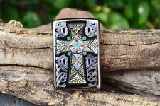 Zippo Lighter - Celtic Cross with Stone - Engraved - Gaelic - Model # 46442