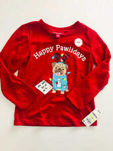 Macy's Family PJs Pajama Top 'Happy Pawlidays' Multicolor Size XS 4/5 NWT