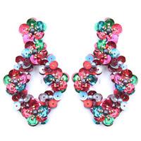 Floral Sequin Earring, Trendy Sequin Earring, Brand New, Multi Color, Boho