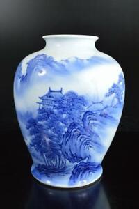 A5297: Japanese Old Arita-ware Blue&White BIG FLOWER VASE Ikebana, Fukagawa made
