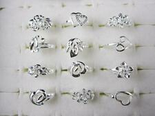 Lots 10 Pcs 925 Sterling Solid Silver Mixed Style Flower Rings Size 6 to 8