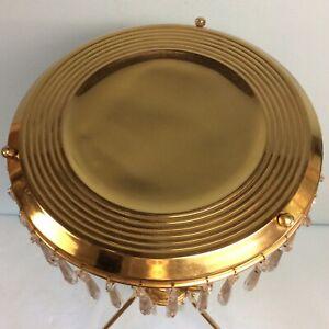 """Brass Tripod Accent Table w/ U-Drop Prisms 33.5"""" T"""