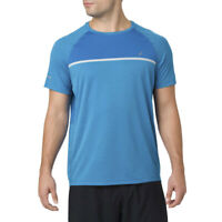 Asics Mens Short Sleeve Top Blue Sports Running Breathable Lightweight